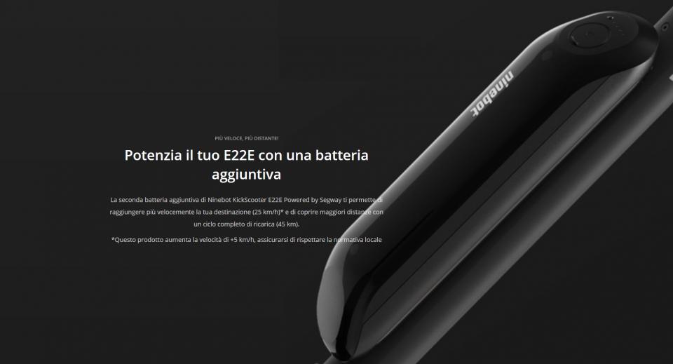 batteria aggiuntiva per ninebot e22e