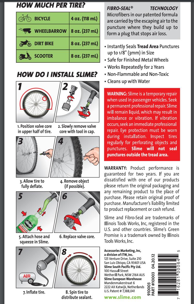 slime antiforatura monopattino elettrico istruzioni manuale