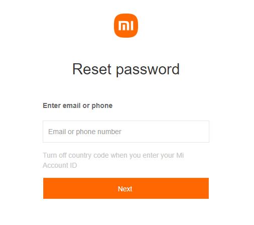 reset account password xiaomi schermata
